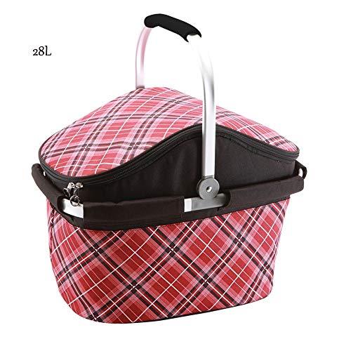 YILIAN yecanbao 28L große Kapazität Faltbarer Picknickkorb tragbarer Isolationsbeutel frischer Korb-Mittagessenkorb