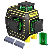 Firecore 94T-XG Professional Edition Green Beam Laser Level, 3X360 Cross Line Laser, Three-Plane Self-Leveling and Alignment Laser - with Magnetic Pivoting Base, Target Plate