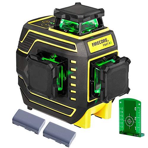 Firecore nivel laser autonivelante 94T-XG, 25m, nivel laser verde 360 grados 12 líneas y Modo de Pulso exterior, con batería de litio recargable