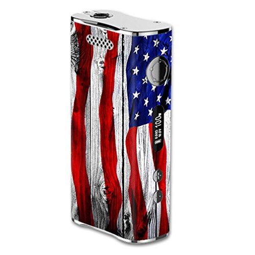 Skin Decal Vinyl Wrap for eLeaf iStick 100W Vape Mod Box / American Flag on Wood