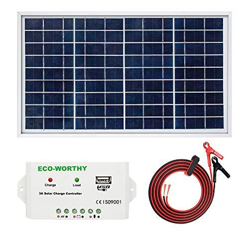 ECO-WORTHY Kit Solar 10W 12V: 1 Panel Solar 10W + Controlador de Carga 10A + 1 par de Pinzas Cocodrilo para cargar las Baterías 12V de Autocaravana, Barco, Lámpara de Jardín
