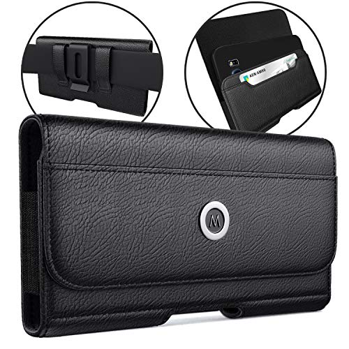 Meilib iPhone 11 Pro Max/XS Max Holster, Premium Cell Phone Belt Holster Case with Belt Clip, ID Card Holder Pouch Cover for Apple iPhone 11 Pro Max/Xs Max (Fits Phone w/Otterbox Case on) Black
