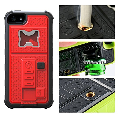 iPhone 6 Case, Multi-Functional Built-in Cigarette Lighter/Bottle Opener & Camera Stable Tripod Protective Shock Proof Cover for Apple iPhone 6/6S (Red)