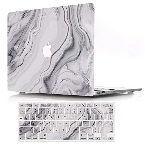 AJYX Funda MacBook 12 Pulgada(Modelo A1534), Plastico Rígida Carcasa Case y Cubierta del Teclado EU Layout para 2015-2017 MacBook 12 Retina - Mármol Gris