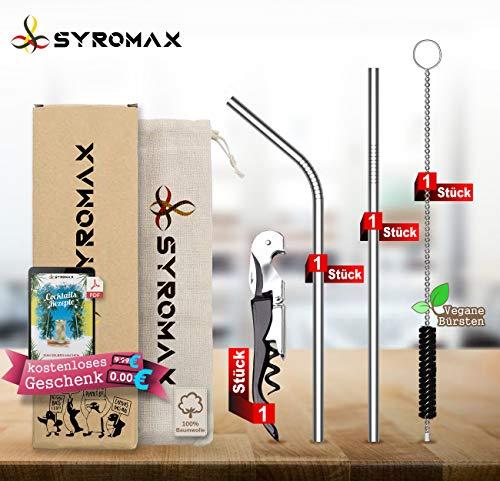 Syromax Strohhalm wiederverwendbar Edelstahl Strohhalm 2er Set + 1 Reinigungsbürste + Eco-Beutel + Flaschenöffner | Cocktails & Milchshake | umweltfreundlich.(1 gerade / 1 gebogen)
