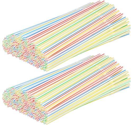 com-four® 400x Flexible Knick-Strohhalme aus Kunststoff, gestreift weiß-rot/weiß-grün/weiß-blau/weiß-gelb (400 Stück - bunt gestreift V2)