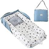 TEALP Reducteur de lit Bebe Cocon, réducteur Lit Bébé, Nid pour nouveau-né nourrisson, baby nest pour bébé couffin de voyage portable, étoile grise