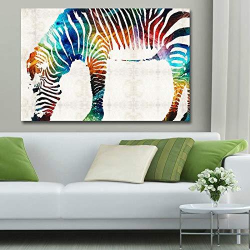 KWzEQ Nordische Moderne Zebrafarbe Leinwanddrucke abstraktes Tierplakat Wohnzimmer Wandbild,Rahmenlose Malerei,45x67cm