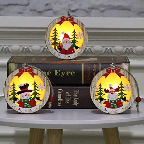 ZXXFR Kerstmis decoratie hanger 3 stuks ronde houten licht tot Kerstmis hanger oplichtend Xmas Tree Drop Ornament vakantiehuis verlichting voor kerstmis party decoratie