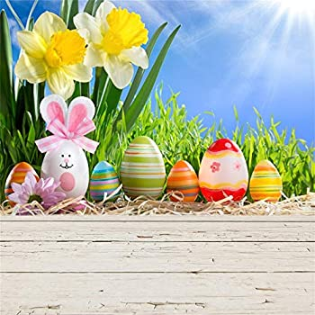 OFILA Spring Backdrop 10x10ft Kids Easter Party Photography Background Painted Eggs Lily Flowers Photos Springtime Backdrop Easter Egg Hunt Events Background Easter Video Backdrop Props