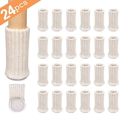 Ezprotekt Stuhlbeinschoner, Stuhlbeinsocken, passend für Durchmesser von 2,5 cm bis 5,1 cm, elastisch, dicke Unterseite, Möbelschuhe/Anti-Rutsch-Möbelpolster, Beige, 24 Stück