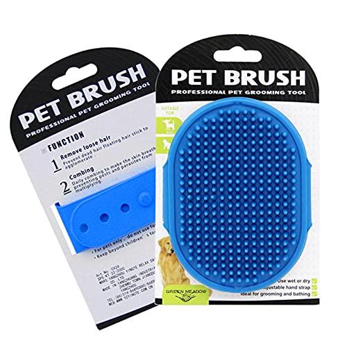 Cepillo de aseo para perros, cepillos de baño para mascotas, champú para mascotas, cepillo de baño, peine de goma de masaje calmante con mango de anillo ajustable para perros de pelo largo y corto
