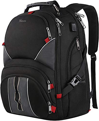 MANCRO Laptop Backpack,Travel Rucksack Business Backpack With USB Charging Port,Water Resistant Computer Rucksack Bag Fit 17.3 Laptop and Notebook,Black