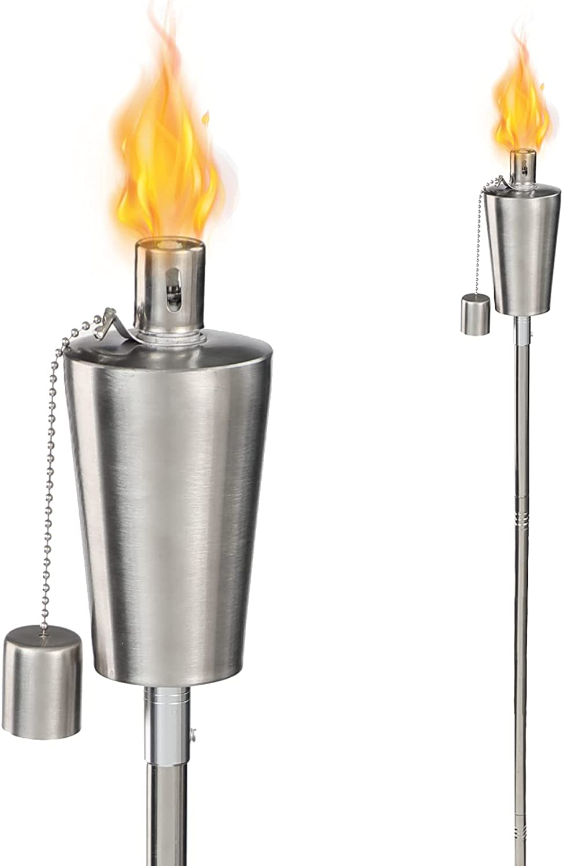 HORSE SECRET Stainless Steel Torch,Outdoor Flame Light Torch,Garden Patio Tiki Torch,Lights Outdoor for Backyard Parties,2 Pack
