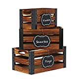 Greenstell Storage Crates, Wooden Nesting Crates with Handles & Hanging Chalkboard Decorative Display Wall Mounted Rustic Accent Crate Box for Party, Office, Bedroom, Kitchen, Closet Set of 3 Brown