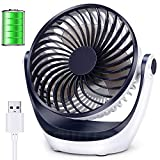 Aluan Desk Fan Small Table Fan with Strong Airflow Rechargeable Battery Operated Portable Fan 3 Speeds Adjustable Head 360°Rotatable Mini Personal Fan for Home Office Bedroom Table and Desktop