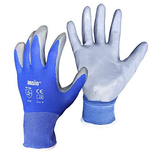 ANSIO 24 pares Guantes de trabajo Guantes de trabajo de manipulación general de nylon azul y gris bañado en palma de PU - Grandes - 9