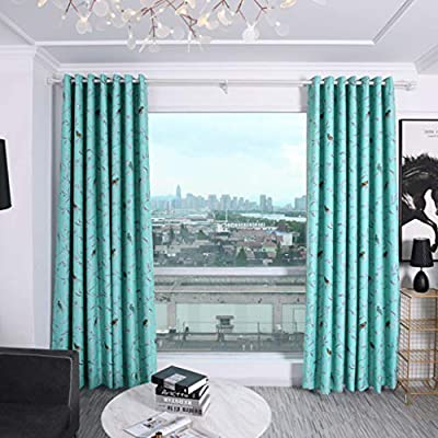 QIUUE Two Pieces Embroidered Blackout Curtains ...