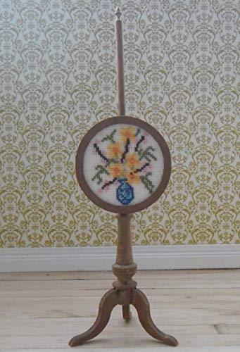 Maßstab 1/12 Puppenhaus Pole-Bildschirm, Runde Rahmen Hand bestickt Blumen in Vase Design in blau und gelb
