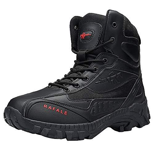 Fantaisiez Bottes Homme à Lacets Cuir Confortable Bottines Résistant à l'usure Botte Combat Militaire Bottine Voyage Antidérapant Boots Respirant Chaussures Sport Décontractée