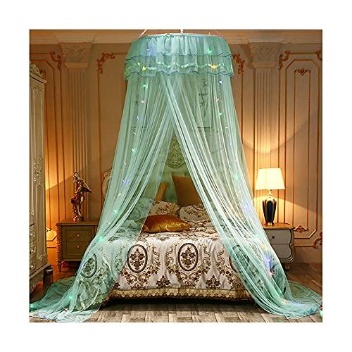 DSMGLRBGZ Mosquitera Cama Tela Dosel, Agregar luz/Sin luz - con Plegable Alambre de Acero para Chicas & Adultos Twin a King Size Bed,Verde,Plus Lights
