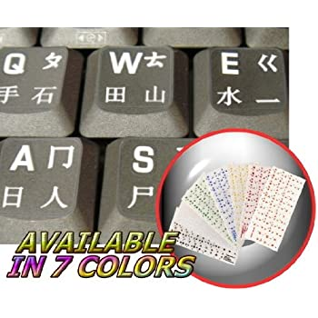 CHINESE KEYBOARD STICKERS WITH BLACK LETTERING TRANSPARENT BACKGROUND