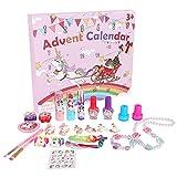 Souarts Calendario de Adviento 2021 de unicornio para niñas, Make Up Calendario de Navidad para niños y adolescentes con maquillaje, cadena, pulsera, anillos, sello, joyas para el pelo, 24 sorpresas