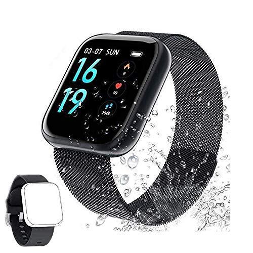 Fitness Tracker Pulsmesser Aktivitätstracker IP68 Smartwatch und Schlafüberwachung mit 2 austauschbaren Armbändern für Herren und Damen (F-1)