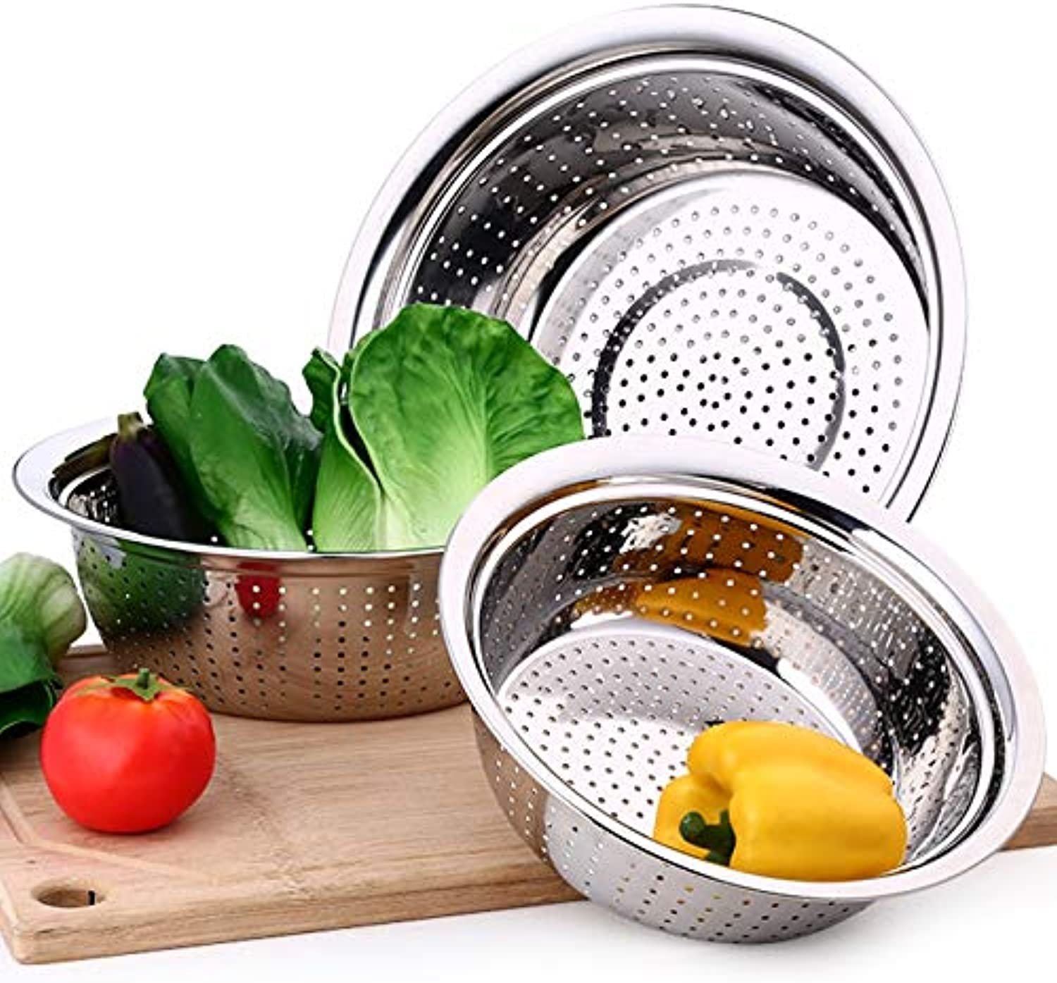 1PC Thickening Stainless Steel Leakage Basin Pot Vegetable Fruits Sieve Washing Fruit Basket Colanders Strainers Kitchen Tools   D22cm