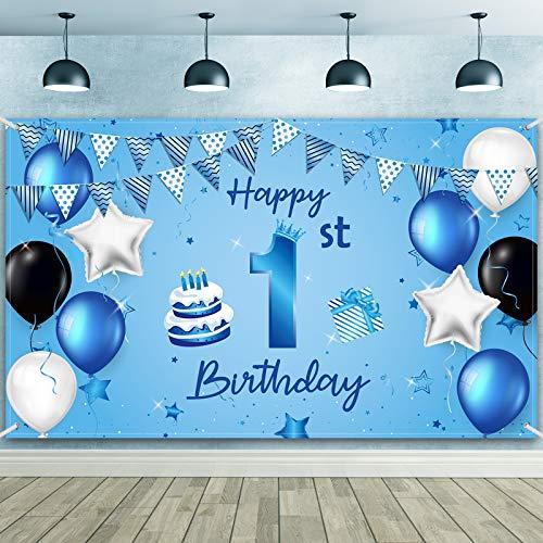 Happy 1st Birthday Hintergr& Banner Extra Große Stoff 1. Geburtstag Zeichen Poster Fotografie Hintergr& Banner für 1. Geburtstag Jahrestag Party Dekoration Lieferung, 72,8 x 43,3 Zoll