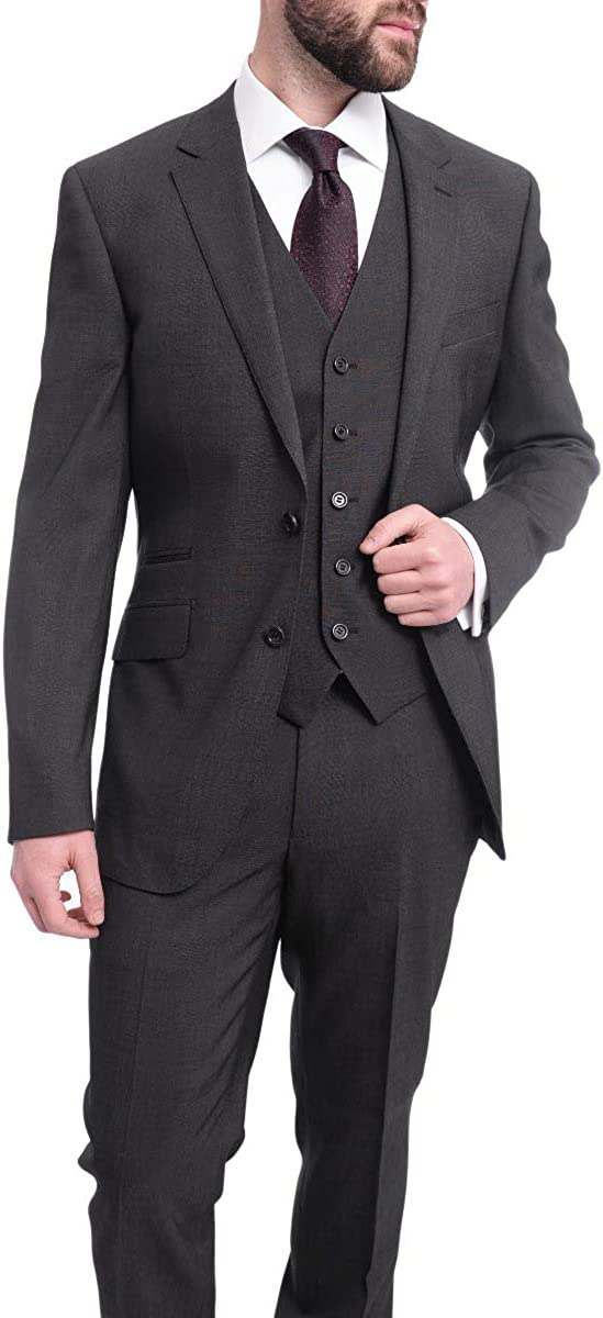 Napoli Slim Fit Charcoal Gray Pindot Half Canvassed Marzotto Wool & Silk Suit