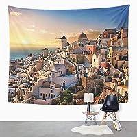 ギリシャの風景タペストリーオイア村サントリーニ島の夜の美しい夜ホーム寮壁掛けタペストリー居間の寝室のため130cm x 150cm