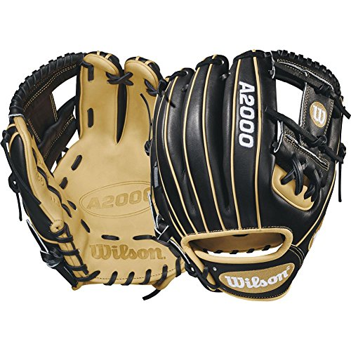 Wilson A2000 11.5-Inch SuperSkin Baseball Glove, Black/Light Blonde, Left (Right Hand Throw)