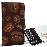スマコレ ploom TECH プルームテック 専用 レザーケース 手帳型 タバコ ケース カバー 合皮 ケース カバー 収納 プルームケース デザイン 革 チェック・ボーダー コーヒー イラスト 模様 004113