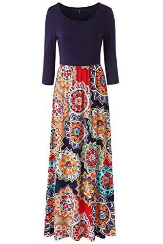 Zattcas Womens Maxi Dresses Floral Print 3/4 Sleeve Casual Tunic Long Maxi Dress,Navy Multi,Large