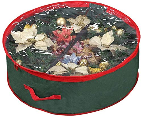 Ram Green Christmas Wreath Storage Bag 24' Garland Wreaths Container with Clear Window Durable 600D Oxford Material