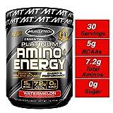 MuscleTech Essential Series Platinum Amino Plus Energy BCAA Powder, Watermelon, 10.15 Ounce, 30...