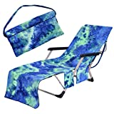 Freesooth Beach Chair Cover, Pool Lounge Chaise Towel Sun Lounger Cover with Side Storage Pockets ( Blue )