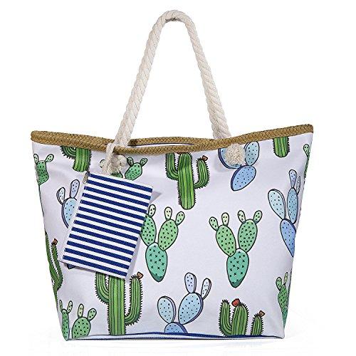 Diealles Bolsa de Playa de Lona Mujer Grande, Bolsa de Playa Grande con Cremallera para Mujeres y Niñas (Style 3)