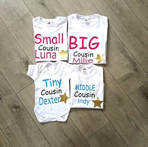Personalised Matching Cousin T-shirts Boys Girls Vest Top Tee Family Name...