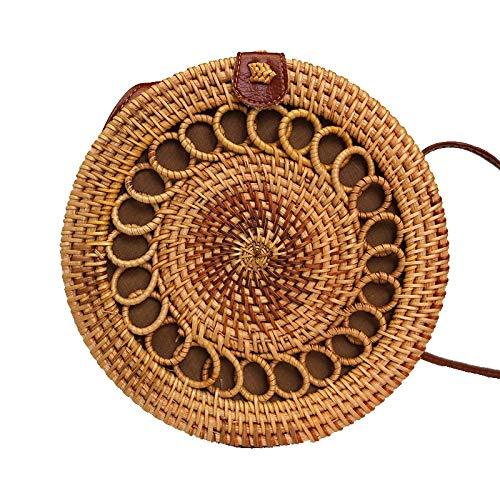 Mubolin Bolsas de paja redondas para mujer Verano Playa Ratán Bolso tejido hecho a mano Círculo Bohemia Bali Crossbody