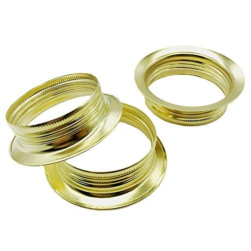 3 Stück Schraubring E27 Metall messingfarben für Lampen-Fassung Ring Höhe 15mm für Lampen-Schirm oder Glas-Elemente
