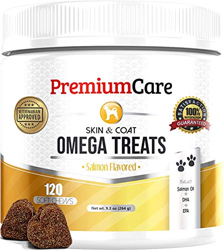 PREMIUM CARE Omega 3 Alaskan Fish Oil for Dogs - Made in USA - Vet Approved - Natural Wild Salmon Oil for Dogs with EPA & DHA - Itch Free Skin + Healthy Skin & Coat + Allergy, Heart & Brain Health