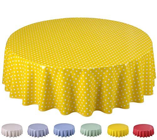 Home Direct Wachstuch Tischdecke Abwaschbar Rund 160cm Kleine Tupfen Gelb