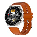 Reloj inteligente deportivo compatible con Bluetooth seguimiento de fitness impermeable pantalla táctil completa hombres mujeres smartwatch, plata,