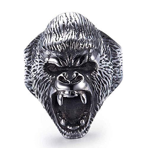 WLXW Bague Viking en Acier Inoxydable, Bague pour Gorille en Colère Nordic Vintage Animal pour Hommes, Soin du Corps Religieux, Signifie Homme Fort - pour Père Et Fils,10