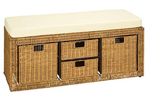 heine home Sitzbank Truhe in Honig aus Rattangeflecht mit Schubladen und Sitzkissen ca. 45/100/35 cm