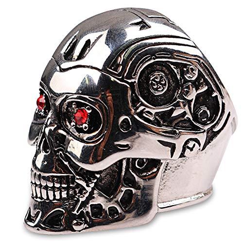 YANGFJcor Soldado de Acero para Hombres Punk Rock Skull Cool Anillos, Retro Cristal Rojo Steam Hip Hop Gothic Anillo de Acero Inoxidable Mujeres Biker Terminator Máscara Joyería,7