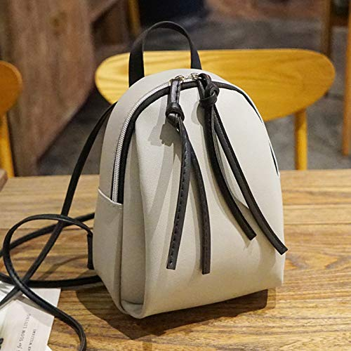 REBKW New Women's Backpack PU Leather Travel Shoulder Bag Shoulder Bag Girl Multifunctional Small School Backpack Women Black(gray,China)