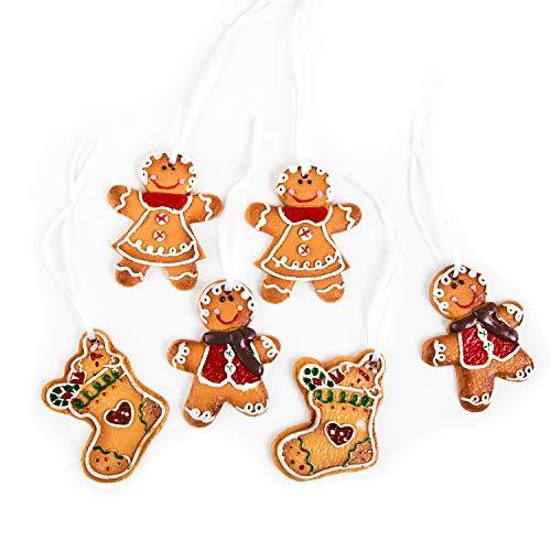 Logbuch-Verlag 6 ciondoli natalizi Natale addobbi albero famiglia particolare feste resina uomo donna omino stivale pan di zenzero marzapane biscotto